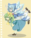 awa_hirotaka blue_bow blue_eyes blue_hair blush bow brown_shoes cirno daiyousei dress fang green_eyes green_hair hair_bow highres ice ice_wings multiple_girls open_mouth outstretched_arms overman_king_gainer parody ribbon shoes side_ponytail smile socks touhou white_legwear wings yellow_bow
