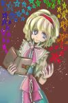 1girl alice_margatroid ascot blonde_hair blue_eyes book capelet hairband highres komaku_juushoku sash solo star touhou