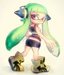 1girl ass belt bike_shorts breastplate butt_crack directional_arrow domino_mask full_body green_hair headgear inkling long_hair looking_back mask pointy_ears poroi_(poro586) shoes simple_background smile sneakers solo splatoon tentacle_hair violet_eyes white_background
