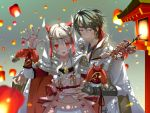 1boy 1girl alternate_costume blurry blush circlet dated depth_of_field female_my_unit_(fire_emblem_if) fingerless_gloves fire_emblem fire_emblem_if gloves green_hair hair_between_eyes hand_on_another's_hip japanese_clothes kero_sweet kimono lantern long_hair my_unit_(fire_emblem_if) paper_lantern red_eyes short_hair signature silver_hair sky_lantern smile suzukaze_(fire_emblem_if) violet_eyes