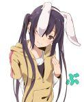 1girl animal_ears black_hair brown_eyes haine highres hoodie k-on! long_hair nakano_azusa one_eye_closed rabbit_ears solo twintails