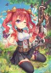 1girl atdan butterfly curly_hair drill_hair grass land_of_caromag looking_at_viewer official_art one_eye_closed oppai_loli original outdoors pink_hair pointing pointing_at_viewer pointy_ears river sitting sky solo tree twin_drills violet_eyes water