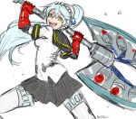 1girl akairiot android aqua_hair battle_axe crazy_eyes crazy_smile dark_persona huge_weapon labrys long_hair open_mouth persona persona_4:_the_ultimate_in_mayonaka_arena ponytail robot_joints school_uniform serafuku sketch solo weapon yellow_eyes