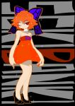 1girl alternate_costume bandaged_neck bandages bare_shoulders black_background black_shoes bow breasts character_name commentary_request dress high_heels highres legs one_eye_closed red_dress red_eyes redhead sekibanki shoes short_dress short_hair simple_background solo sparkle touhou yt_(wai-tei)