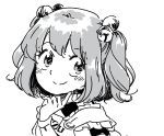 1girl apron bell blush clothes_writing hair_bell hair_ornament japanese_clothes looking_at_viewer mitsumoto_jouji monochrome motoori_kosuzu short_hair smile solo touhou