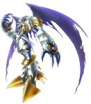 armor claws digimon digimon_story:_cyber_sleuth dragon_boy dynasmon gauntlets grey_pants horns monster no_humans official_art pants print_pants purple_wings red_eyes shoulder_pads shoulder_spikes simple_background spikes torn_wings white_armor white_background white_pants wings yasuda_suzuhito