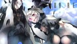 2girls bikini black_bikini black_dress black_hair black_legwear blue_eyes blue_sky breasts clouds dress glowing glowing_eyes hood kantai_collection long_sleeves looking_at_viewer machinery multiple_girls omo_(utakatadice) pantyhose pink_eyes re-class_battleship ru-class_battleship shinkaisei-kan silver_hair sky swimsuit wide_sleeves
