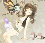 1girl bare_shoulders beautifly brown_hair closed_eyes denim denim_shorts litwick pokemon pokemon_(creature) pokemon_(game) pokemon_bw shorts touko_(pokemon) vest zges