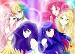 6+girls absurdres applejack blonde_hair blue_eyes blue_hair fluttershy green_eyes highres hug multicolored_hair multiple_girls my_little_pony my_little_pony_friendship_is_magic personification pink_hair pinkie_pie rainbow_dash rainbow_hair rarity smile streaked_hair tagme twilight_sparkle violet_eyes xmlpliciousx yuri