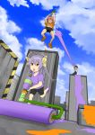1boy 2girls antenna_hair bike_shorts black_hair clouds cloudy_sky crossover from_below glasses hair_ribbon jumping koshigaya_natsumi koshigaya_suguru long_hair long_sleeves media_factory midriff miyauchi_renge multiple_girls navel nintendo nintendo_ead non_non_biyori open_mouth orange_hair paint_roller pants parody purple_hair red_eyes ribbon short_hair short_sleeves silver_link sky smile splatoon super_smash_bros. triangle_mouth tv_tokyo twintails year_connection