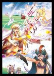 1boy 5girls archery arrow bazooka bird black_legwear blonde_hair blue_eyes bow_(weapon) bra breasts cape character_request clapping cleavage contest eyepatch firing gloves green_eyes grey_eyes gun hairband hand_on_hip hat hitotose_rin jacket_on_shoulders long_hair midriff multiple_girls on_shoulder parrot pink_hair ponytail purple_hair red_eyes rifle sennen_sensou_aigis silver_hair skirt squatting staff thigh-highs translation_request underwear weapon