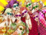 \m/ \n/ aonekonbu black_lipstick black_nails blonde_hair cross diavolo diego_brando dio_brando drinking drinking_straw earrings enrico_pucci freckles funny_valentine hair_tie horns jewelry jojo_no_kimyou_na_bouken kars_(jojo) kira_yoshikage leopard_print lipstick makeup nail_polish necklace pink_hair pointing pointing_at_viewer purple_hair steel_ball_run sunglasses thumbs_up tongue tongue_out vinegar_doppio