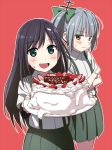 2girls :d aqua_eyes arm_warmers asashio_(kantai_collection) black_hair blush bow brown_eyes cake collared_shirt crossed_arms food food_on_face food_on_head food_writing fruit green_bow green_skirt hair_bow hair_ornament holding holding_plate icing kantai_collection kasumi_(kantai_collection) kinosuke_(sositeimanoga) long_hair looking_at_viewer multiple_girls object_on_head open_mouth outline pink_background plate shirt short_sleeves side_ponytail simple_background skirt smile strawberry suspenders translation_request whipped_cream