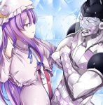 buta_(uhoiiotoko) crescent crossed_arms crossover grin hair_ribbon hand_in_hair hat jojo_no_kimyou_na_bouken patchouli_knowledge purple_hair purple_haze_(stand) ribbon smile stand_(jojo) striped touhou violet_eyes