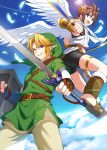 2boys absurdres blonde_hair blue_eyes brown_hair earrings fang grin highres jewelry kid_icarus link male_focus multiple_boys open_mouth pit_(kid_icarus) pointy_ears shield smile super_smash_bros. sword the_legend_of_zelda tubumi weapon wings