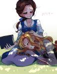 aurora_(disney) beauty_and_the_beast belle_(disney) book brown_hair disney dress highres kokuchuutei long_hair multiple_girls sleeping sleeping_beauty sleeping_beauty_(character) smile