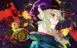 1boy bandana blonde_hair earrings facepaint japanese_clothes jewelry kusuriuri_(mononoke) matsunaka_hiro mononoke pointy_ears portrait profile signature solo
