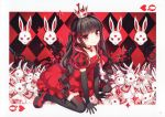 1girl absurdres alice_in_wonderland black_dress black_hair black_legwear card crown dress heart highres jewelry nardack queen_of_hearts rabbit red_eyes ribbon sitting