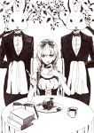 1girl agatsumaattsu apple book choker food fork fruit highres knife looking_at_viewer monochrome original serious solo table twintails