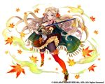 1girl autumn_leaves bare_shoulders black_legwear blonde_hair blue_eyes breasts cleavage detached_collar gauntlets kai-ri-sei_million_arthur long_hair looking_at_viewer metal_boots official_art original pantyhose pisuke solo sword thigh-highs thighhighs_over_pantyhose very_long_hair weapon