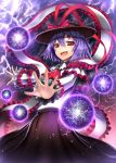 1girl ascot capelet danmaku frills gia hat hat_ribbon lightning long_sleeves looking_at_viewer nagae_iku open_mouth purple_hair red_eyes ribbon shawl shirt short_hair skirt smile solo touhou
