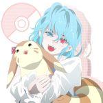 1girl fangs furret fuyuno_(kiddyland) heterochromia open_mouth pokemon pokemon_(creature) tatara_kogasa touhou