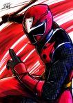 1boy akaninger bodysuit male mask ninja shuriken_sentai_ninninger signature solo super_sentai sword weapon yusuki_(fukumen)