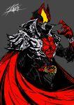 1boy armor belt chain highres kamen_rider kamen_rider_kiva kamen_rider_kiva_(series) kivat-bat_iii male mask red_cape rider_belt signature solo yusuki_(fukumen)
