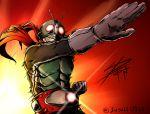 1boy belt bodysuit gloves glowing glowing_eyes henshin_pose kamen_rider kamen_rider_1 male mask pose red_scarf rider_belt scarf signature solo twitter_username yusuki_(fukumen)