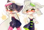 +_+ 2girls aori_(splatoon) black_dress blush breasts cleavage collarbone commentary_request detached_collar domino_mask dress eyebrows_visible_through_hair food food_on_head from_behind gloves green_legwear hair_rings heavy_breathing hotaru_(splatoon) long_hair looking_back mask mole mole_under_eye multiple_girls nose_blush object_on_head open_mouth paint_splatter pantyhose poroi_(poro586) purple_legwear short_hair silver_hair simple_background splatoon strapless_dress sushi sweat symbol-shaped_pupils tentacle_hair twitter_username unitard white_background white_gloves yellow_eyes