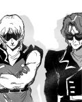 2boys after_war_gundam_x crossed_arms eye_scar gundam jamil_neate military military_uniform monochrome multiple_boys quattro_vageena simple_background sunglasses tagme uniform zeta_gundam