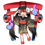 1girl black_hair fox_mask getiao hatsune_miku japanese_clothes kimono long_hair looking_at_viewer mask musunde_hiraite_rasetsu_to_mukuro_(vocaloid) open_mouth red_eyes sandals simple_background solo torii twintails very_long_hair vocaloid white_background