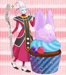 2boys :3 blue_skin cupcake dragon_ball dragon_ball_z dragon_ball_z_kami_to_kami earrings food fork hakaishin_bills jewelry k_(kktkk) long_hair male_focus multiple_boys oversized_object smile violet_eyes whis white_hair