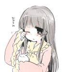 1girl black_eyes black_hair houraisan_kaguya long_hair rabbit rubbing_eyes sketch sleepy straight_hair takamura touhou