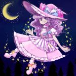 1girl alternate_color bow braid color_switch crescent_moon fusion grin hair_bow hat hat_bow kirisame_marisa komaku_juushoku moon patchouli_knowledge purple_hair side_braid smile solo star touhou violet_eyes witch_hat