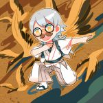 1boy funny_glasses getiao glasses japanese_clothes lowres male_focus one_knee open_mouth red-crowned_crane silver_hair solo sparkle touken_ranbu tsurumaru_kuninaga yellow_eyes