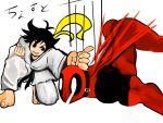 1boy 1girl antenna_hair barefoot black_eyes black_hair bodysuit choker chopping clenched_hand crossover deadpool dougi fighting_stance highres karate karate_gi makoto_(street_fighter) marvel mask one_knee ribbon_choker street_fighter