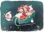 amano_keita antlers bell brown_eyes brown_hair cat christmas closed_eyes ghost gift hat jibanyan koma-san mei_(maysroom) open_mouth purple_lips red_nose sack santa_costume santa_hat short_hair sitting sleigh whisper_(youkai_watch) youkai youkai_watch