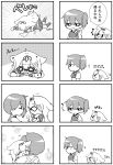 >_< /\/\/\ 2girls 4koma :d ^_^ absurdres bruise closed_eyes comic falling fang fingerless_gloves flat_gaze flying_sweatdrops gloves hair_flaps hair_ornament hair_ribbon hairclip highres hug injury jakoo21 japanese_clothes kaga_(kantai_collection) kantai_collection long_hair monochrome multiple_4koma multiple_girls muneate musical_note open_mouth ponytail remodel_(kantai_collection) ribbon scarf school_uniform serafuku short_hair short_sleeves side_ponytail smile tearing_up tears translation_request watery_eyes yuudachi_(kantai_collection) |_|
