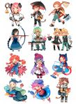 arrow beaker bow_(weapon) butterfly_net character_request copyright_request getiao green_hair hand_net hat pink_hair rabbit simple_background tagme test_tube top_hat umbrella weapon weighing_scale weight white_background zodiac