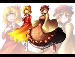 aki_minoriko aki_shizuha barefoot blonde_hair breasts hat large_breasts leaf leaves multiple_girls short_hair siblings sisters tora_(pixiv) tora_(trampjing) touhou