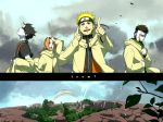 blonde_hair blue_eyes cloud clouds coat double_rainbow hairband haruno_sakura headband hood i_(kaiyou) naruto nature open_mouth pink_hair pointing rainbow sai sai_(naruto) scenery short_hair sky uzumaki_naruto yamato_(naruto)