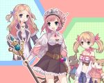atelier_(series) atelier_rorona blonde_hair blue_eyes breasts brown_dress cat cleavage cuderia_von_feuerbach dress flat_chest green_eyes hair_ornament hat hinuki_marina jewelry large_breasts lionela_heinze midriff multiple_girls one_side_up pendant red_hair ribbon rororina_fryxell staff twintails