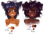 2girls animal_ears bare_shoulders blue_eyes blue_hair blush brown_eyes cat_ears commentary dark_skin foervraengd lips long_hair multiple_girls palette rough smile