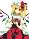 1girl ascot blonde_hair blue_rose flandre_scarlet flower fujishiro_emyu hat long_hair petals red_eyes rose scissors side_ponytail skirt skirt_set solo touhou wings