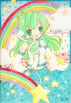 emo_(artist) emo_(mikan) green_eyes green_hair kochiya_sanae long_hair rainbow signature snake star touhou traditional_media