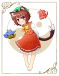 animal_ears bad_feet barefoot blue_oni brown_eyes brown_hair cat_ears cat_tail chen earrings face frame hat highres jewelry leaning_forward marimo_inu multiple_tails oni red_oni solo tail touhou yin_yang