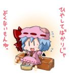 1girl :3 bat_wings blue_hair bow brooch chibi commentary_request detached_wings flying_sweatdrops hat hat_bow jewelry mob_cap noai_nioshi open_mouth patch puffy_short_sleeves puffy_sleeves red_bow remilia_scarlet short_hair short_sleeves sitting solo sweat touhou translation_request wings |_|