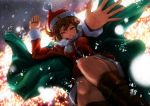 1girl alternate_costume arms_up backlighting boots breath brown_eyes brown_hair cape dutch_angle falling hat highres lights looking_at_viewer meiko museum2088 night reaching_out santa_costume santa_hat short_hair smile snow solo vocaloid