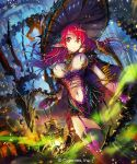 1girl breasts hat lantern long_hair navel pointy_ears red_eyes redhead solo thigh-highs yui_(niikyouzou)